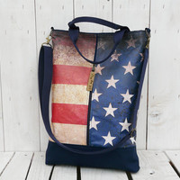 Waxed canvas tote American Flag messenger bag city bag MacBook bag screen printed bag