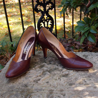 Vintage 50's Shoes Stanley Philipson-Brick Red 1950's Pin Up Mad Men Pumps