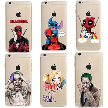 Deadpool Dead pool Taco  and Stitch Suicide Squad Joker Harley Quinn Soft Clear TPU Phone Case Cover For iPhone X SE 5s 6S Plus 7 7 Plus 8 8Plus AT_70_6