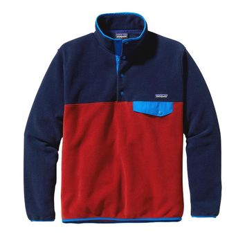 Patagonia Men's Lightweight Synchilla® Recycled Fleece Snap-T® Pullover | Classic Navy