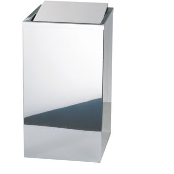 DWBA Stainless Hamper Square Laundry Basket W/ Swing Cover Lid, Polished Chrome