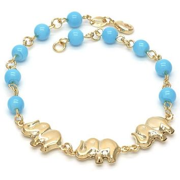 Gold Layered 03.32.0089.08 Fancy Bracelet, Elephant and Ball Design, with Blue Topaz Opal, Polished Finish, Golden Tone