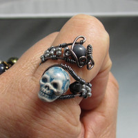 Handmade Wire Wrap Skull Ring, Copper Wire Wrap Skull Bead Ring, studiodct