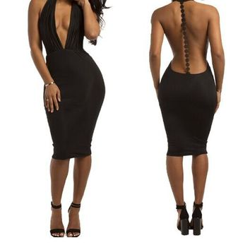 Sexy Deep V-neck Backless Bodycon Club Jumpsuit Bandage Dress