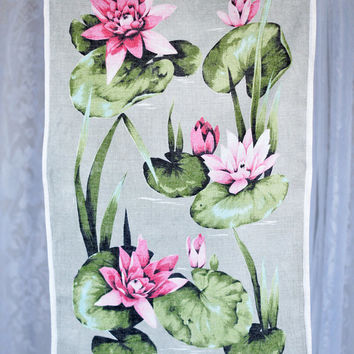 Vintage Dunmoy Irish Linen Tea Towel Pink & Green Water Lillies Kitchen Towel Dish Towel Collectors Display Towel Flowers Floral Spring