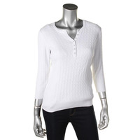 Karen Scott Womens Petites Cotton Cable Knit Henley Sweater