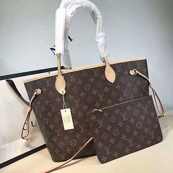 "Hot Sale ""Louis Vuitton"" LV Fashion Women Leather Handbag Bag Cosmetic Bag Two Piece Set I-AGG-CZDL"