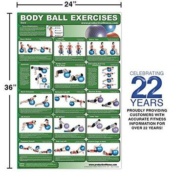 Laminated Body Ball Core Exercise Poster - Contains Many Core Muscle Exercises