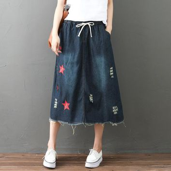 Harajuku Retro Vintage Ethnic Boho Star Big Size Loose Embroidery Elastic Waist Jeans Denim Blue Cowboy Women Spring Fall Skirt