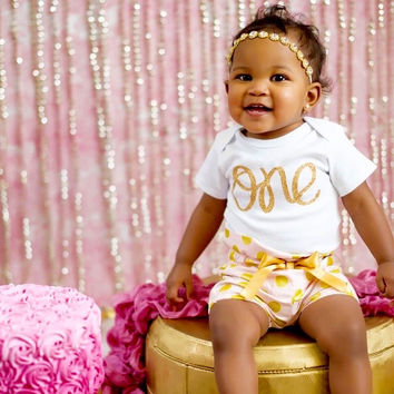 Pink Bloomer 1st Birthday Outfit