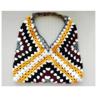 Oversized Modern Crochet Granny Square Market Tote Bag Lined With Pockets boho chic