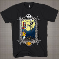Nightmare Before Christmas- Jack and Sally  Mens and Women T-Shirt Available Color Black And White