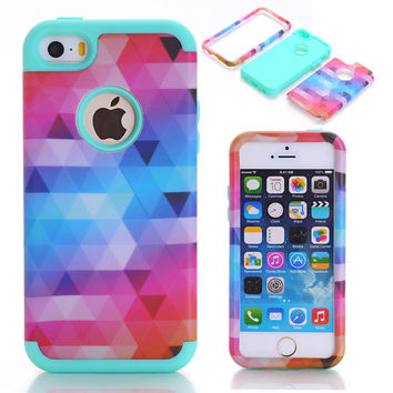 Case Cover For Apple iPhone 5/5S/SE Impact Hard & Soft Silicone Hybrid Phone Case w/Screen Protective Film+Stylus Pen
