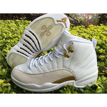 Air Jordan 12 ovo white/Gold Basketball Shoes 36-40