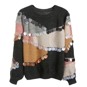 Women Sequined Sweater and Pullovers Long Sleeved Korean Fashion Knit Mohair Sweater Loose Spliced Jumper Sueter Mujer