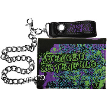 Avenged Sevenfold Men's Splatter Skull Tri-Fold Wallet Black