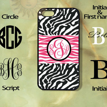 Monogram Black and white Zebra pink Patten -iPhone 5, 5s, 5c, 4s, 4 case, Ipod touch 5, Samsung GS3, GS4 case-Silicone Rubber or Hard Plas