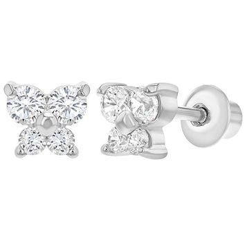 Rhodium Plated Small Butterfly Earrings with Screw On Backs for Girls Kids