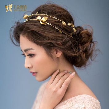 Gorgeous Gold color leaf headband pearl jewelry crystal tiara women crown hair ornaments bridal wedding accessories Gift lluozh