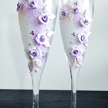 Beautiful hand decorated Romantic Wedding or Anniversary Champagne Glasses, elegant Toasting Flutes with beads and flowers
