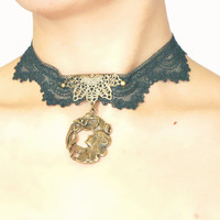 lace pendant choker necklace - vintage gothic victorian boho chic - bronze charms beaded