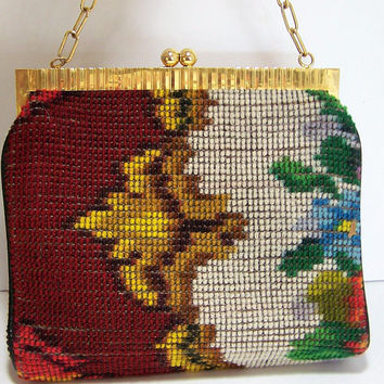Koret Carpet Bag Purse, Red Leather Lining, Made in Italy, Mid Century Boho Handbag, Gold Tone Chain Strap 817