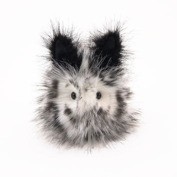 Leopold Spotted Easter Bunny Rabbit Plush Stuffed Animal Toy Black and White- 4x5 Inches Small Size