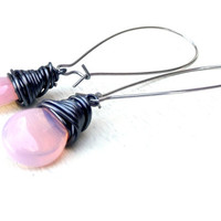 Blush Pink Earrings: Pale Pink Milk Glass Teardrop Dangle Black Wire Wrapped Wedding Jewelry