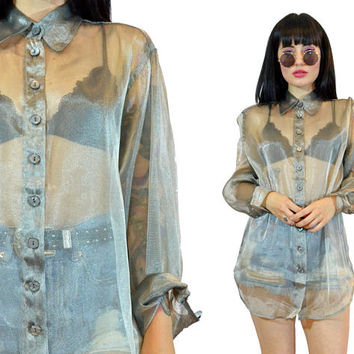 vintage 90s SHEER metallic shirt silver sheen oversized blouse top soft CYBER grunge industrial minimalist raver club kidd S/M sheer mesh