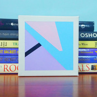 Tiny Original Canvas Art Geometric Modern Contemporary Painting Small OOAK Canvas Wall Art Home Decor