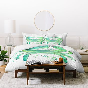 Laura Trevey Seafoam Green Crab Duvet Cover
