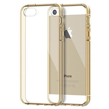 iPhone SE Case, JETech Apple iPhone 5/5S/SE Case Bumper Cover Shock-Absorption Bumper and Anti-Scratch Clear Back for iPhone 5 5S SE (Gold) - 0428