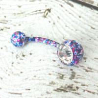 Blue Splatter Paint Belly Button Ring Barbell