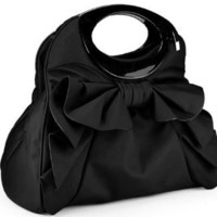 MG Collection Dacia Bowknot Ruffle Satchel Handbag, Black, One Size