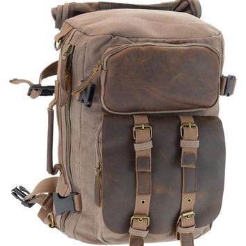 The Kingsley - Genuine Leather and Canvas Backpack Converts from Backpack to Briefcase