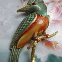 Vintage JJ Enameled Bird Pin