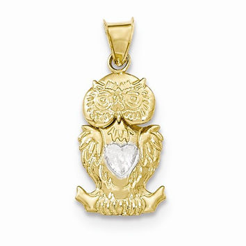 14k Two tone Gold Polished Moveable Owl Pendant