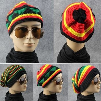 2017 Winter Hip Hop Bob Jamaican Cap Rasta Reggae Hat Multi-colour Striped Beanie Hats For Men Women  Fashion Beanie Caps Gorro