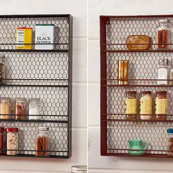 Farmhouse Kitchen Spice Rack Chicken Wire Wall Mounted 4 Shelves Black or Bronze