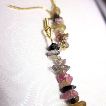 Watermelon Tourmaline Mini-Chip Earrings on Gold Filled Ear Wires - Multicolored Rainbow Stone