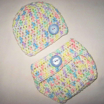White and Pastel Unisex Boy or Girl  Baby Diaper Cover and Baby Hat Set Newborn- 3 months Baby Shower