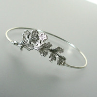 Oak Leaf Bangle Bracelet, Silver Bangle Bracelet, Oak Leaf Bracelet, Silver Bracelet, Silver bangle (146S)