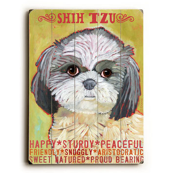 Shih Tzu by Artist Ursula Dodge Wood Sign