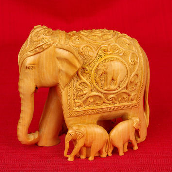 Moksha Wood Carving Elephant with Family Figurine Brown Finish WC041