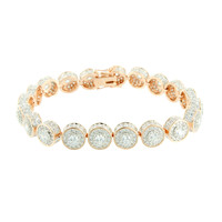 Round Link Solitaire Bracelet 14K Rose Gold Finish Lab Diamonds