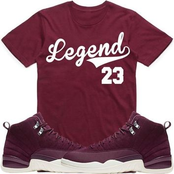 LEGEND 23 Maroon Sneaker Tees Shirt - Jordan 12 Bordeaux