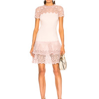JONATHAN SIMKHAI Short Sleeve Mini Dress in Petal | FWRD
