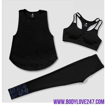 Quick Dry Yoga Sets for Gym Running Yoga T-Shirt Tops & Bra Vest & Pants Suit Set