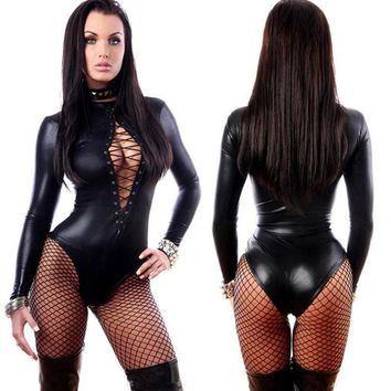 2016 Hotsale Women Black Night Bar Club Jumpsuit Hollow Super Sexy Adult PVC Leather Like Tight Coverall Bodycon Catsuit Costume