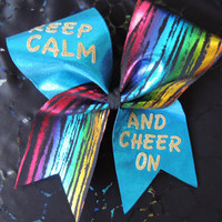 keep calm and cheer on cheer bow.